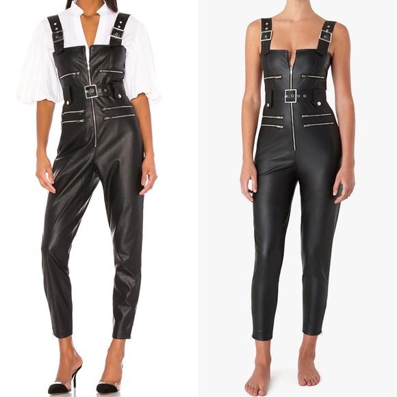 Shop WeWoreWhat Vegan Leather Moto Overalls 🏍